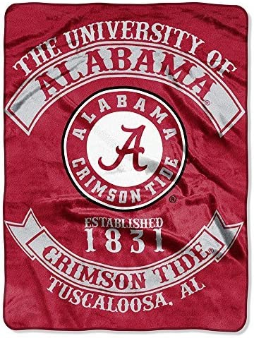 Northwest NOR-1COL080200018RET 60 x 80 in. Alabama Crimson Tide NCAA Royal Plush Raschel Blanket, Rebel Series by Northwest