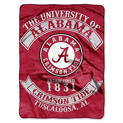 Northwest NOR-1COL080200018RET 60 x 80 Alabama Crimson Tide NCAA Royal Plush Raschel Blanket, Rebel Series - Royal Plush Raschel Blanket