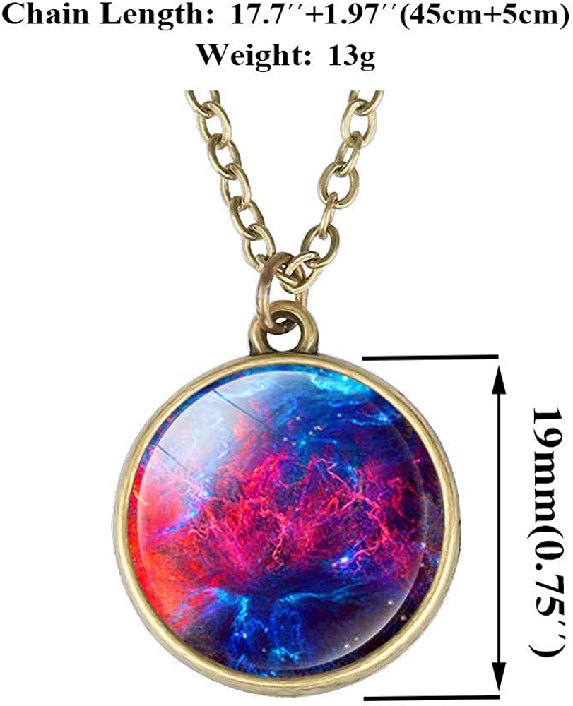 Family Decor Starry Cloud Sky Pendant Necklace Cabochon Glass Vintage Bronze Chain Necklace Jewelry Handmade