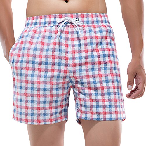 (Akula Men's Mens Plaid Swim Trunks with Pockets Bathing Suits Surf Trunks XX-Large)