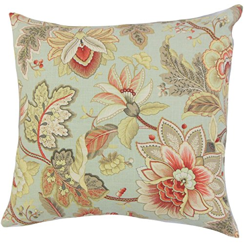 (The Pillow Collection Filipa Floral Bedding Sham Jade Euro/26
