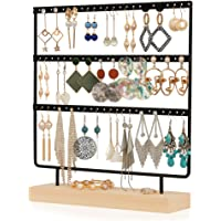 Simple Ear Stud Holder 4-Tier Earring Stand Earring Holder Decorative Jewelry Holder Display Rack Jewelry Stand Display with Wooden Tray/Dish for Earrings Necklace Bracelet Rings 69 Holes