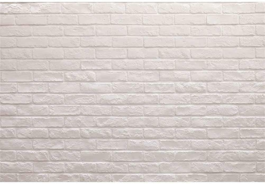 10x7ft Plain White Brick Wall Vinyl Photography Background Simple Style Backdrop Child Baby Adult Pets Portrait Clothes Products Shoot Decorative Wallpaper Studio Props