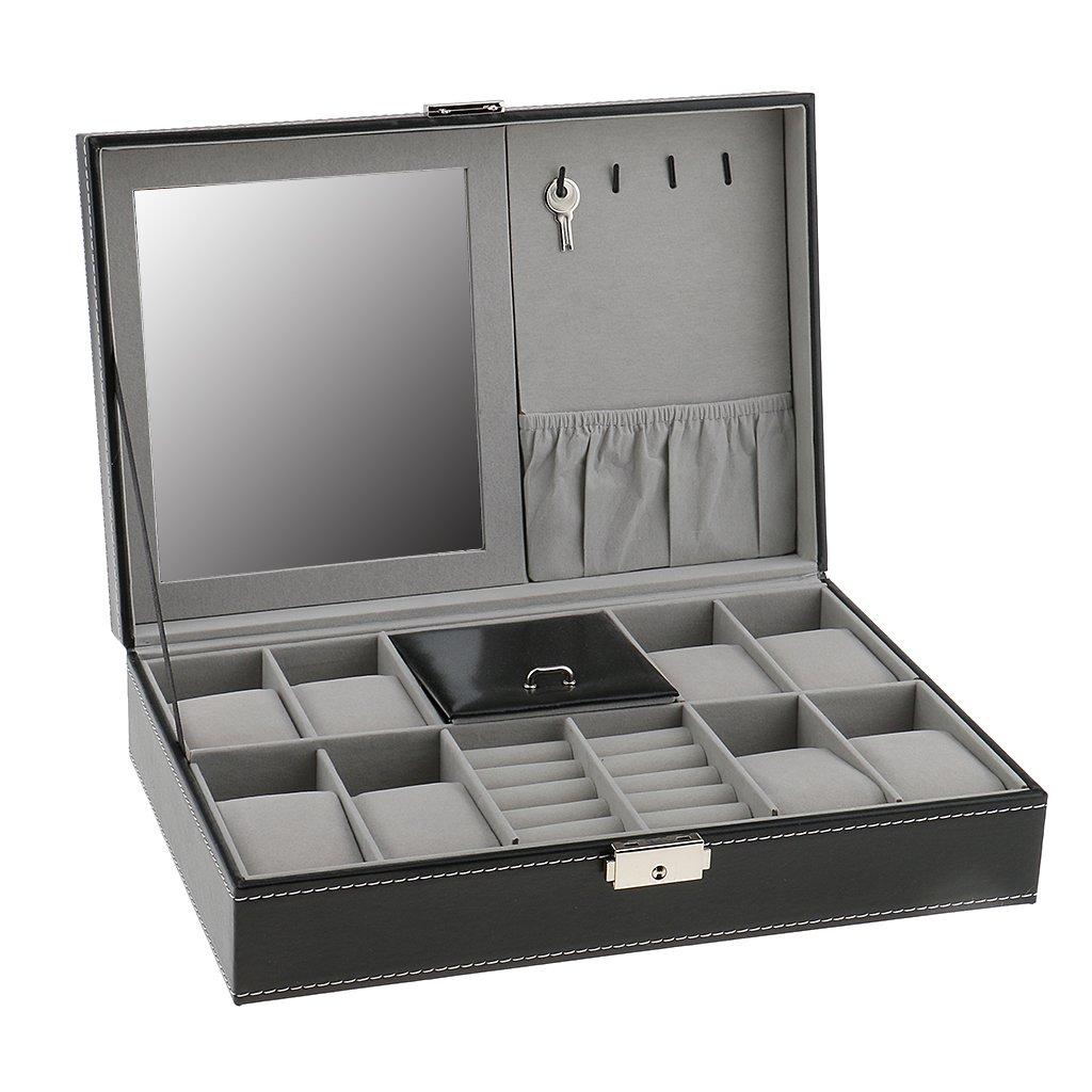 MagiDeal Multifunction Jewelry Watch Storage Display Makeup Box With Mirror Organizer
