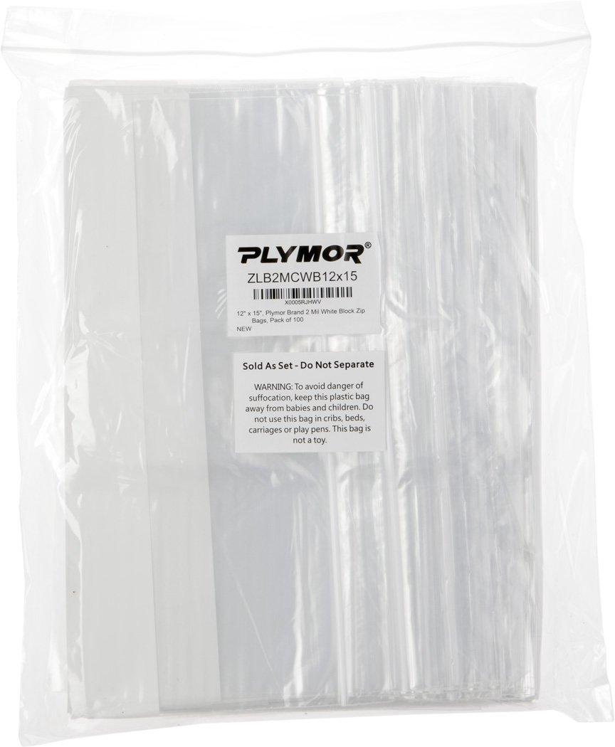Plymor 12'' x 15'', 2 Mil (Pack of 100) Zipper Reclosable Plastic Bags w/White Block