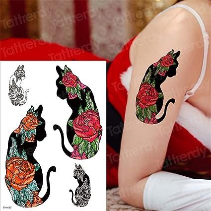 tzxdbh Pintura del Perro del Estilo de 3pcs Verano Pegatinas Lobo del Tatuaje del Tigre Mujeres en el Pecho el Arte de Cuerpo Impermeable Tatuaje Temporal Hombres Brazo Tatto Animales Gato 3pcs