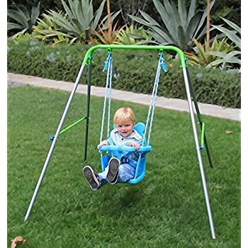 Wooden horse swing set for toddlers smooth for Baby garden swing amazon