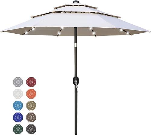 ABCCANOPY 11FT Solar 3 Tiers Market Umbrella Patio Umbrella Outdoor Table Umbrella