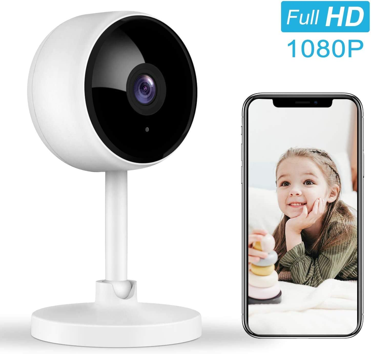Home Security Camera, Littlelf 1080P FHD Indoor WiFi Wireless Camera with 2-Way Audio, Night Vision, Motion Detection for Pet Elder Baby Monitor, Cloud Storage and MicroSD Support Not Included