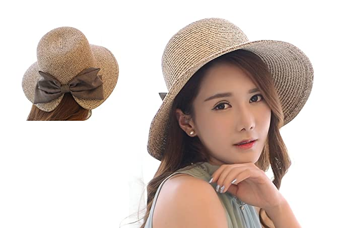 9ed54635cce Womens Floppy Summer Sun Beach Straw Bow tie Hat Wide Large Brim Beach  Straw Sun Cap