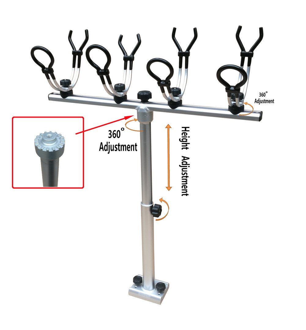 Brocraft Crappie Rod Holder System with Telescopic T-bar/Crappie Fishing Rod Holder