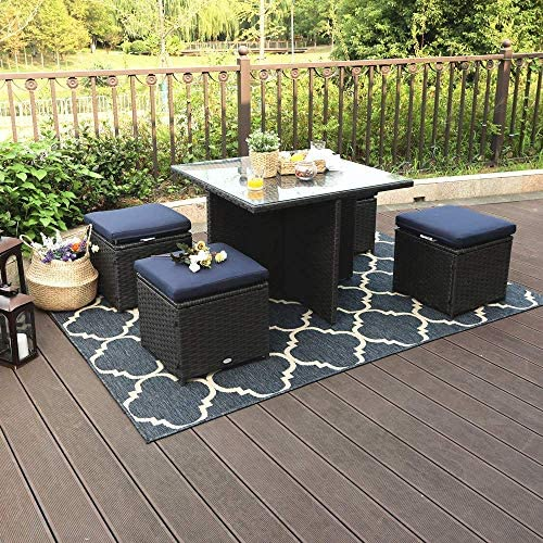 PHI VILLA Outdoor Patio Furniture-Rattan Table and Chairs 5-Piece, Dining Set
