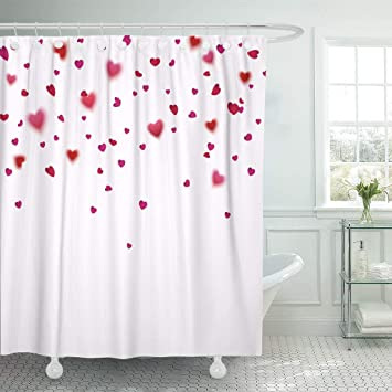 Emvency Fabric Shower Curtain Curtains With Hooks Pink And Red Hearts Confetti Falling Effect Flower Petals