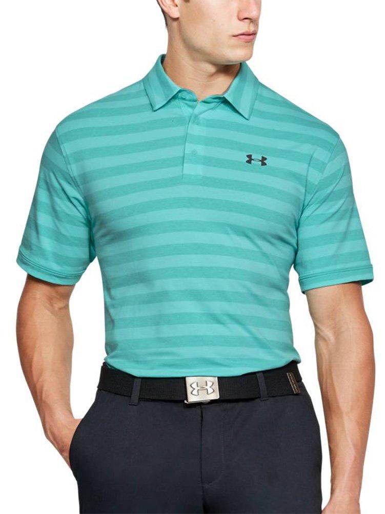 Under Armour Men's Charged Cotton Scramble Stripe Polo Shirt, Tropical Tide/Rhino Gray, Small