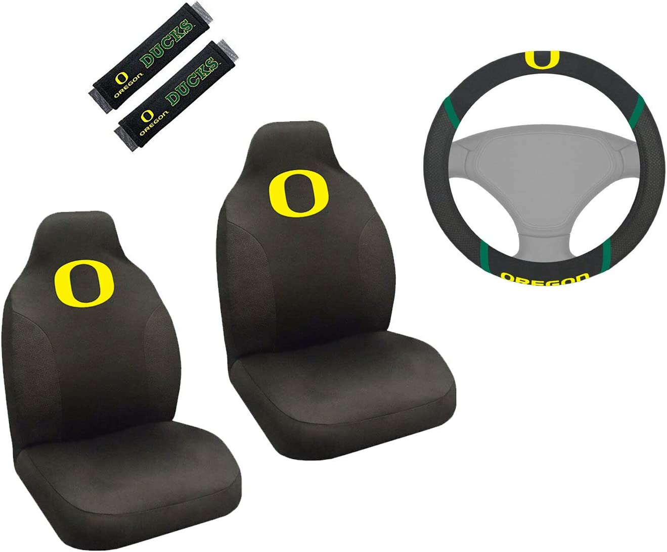 Oregon Ducks Officially Licensed NCAA Set of Universal Fit Front and Rear Rubber Automotive Floor Mats