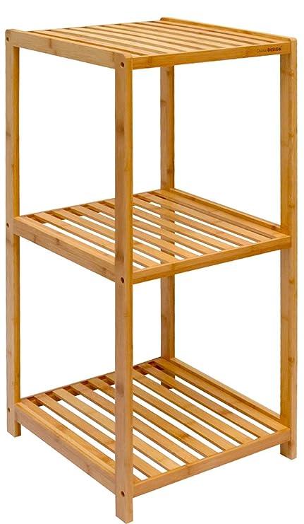dunedesign XL Bambus Holz Regal 83 x 38 x 39,5 cm 3 Fächer Stand ...