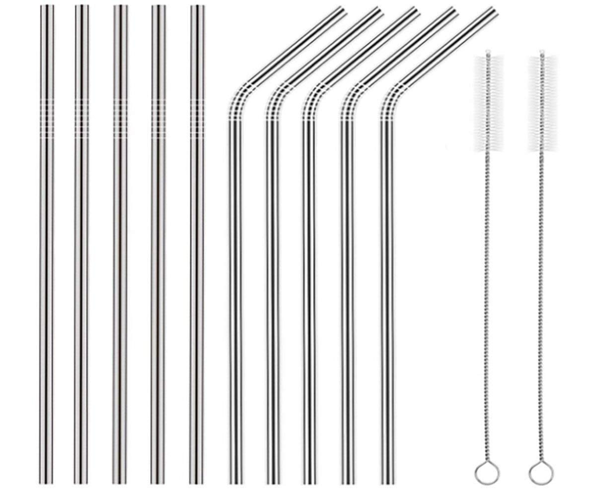 Set of 10 - Stainless Steel Drinking Straws, Metal Straight & Bent Straw for Tumbler Yeti or Ozark Trail Ramblers Cups, with 2 Cleaning Brushes