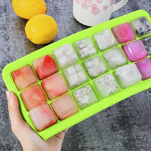 Ice Cube Tray Ice Ball Maker iHOMEARD 21 Cubes Easy Release silicone molds with plastic cap lid cover for summer days ice moulds - Melt Water Boiling In Plastic Will
