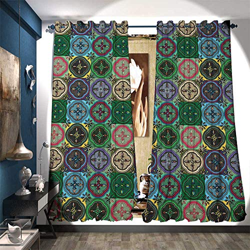 kening Wide Curtains Pattern of Abstract Shapes Inspired by Stained Glass Style Traditional Vibrant Waterproof Window Curtain W120 x L84 Multicolor ()
