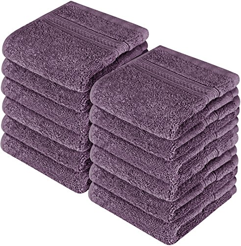Utopia Towels Premium 700 GSM Washcloths Towels Set (12 Pack, Plum, 12 x 12 Inches) Multi-Purpose Extra Soft Fingertip Towels, Highly Absorbent Face Cloths, Machine Washable Sport, and Workout Towels