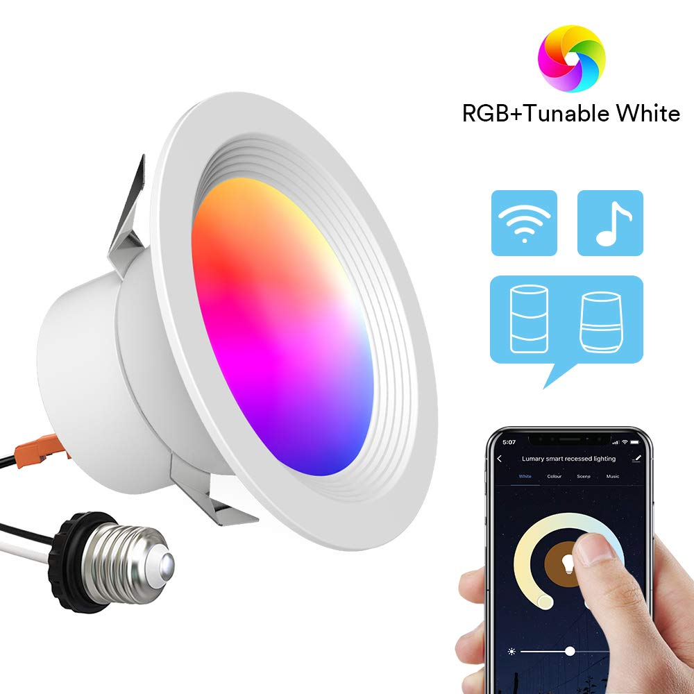 Smart Recessed Lighting - Lumary 4 inch WiFi Led Downlight Color Changing Recessed Light Tunable White+RGB 9W(65W Equivalent) 810lm Compatible with Alexa Google Assistant IFTTT No Hub Required