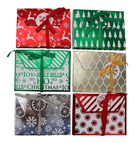 Christmas Foil Gift Card Holders- Assorted Holiday Designs -(12 Count )