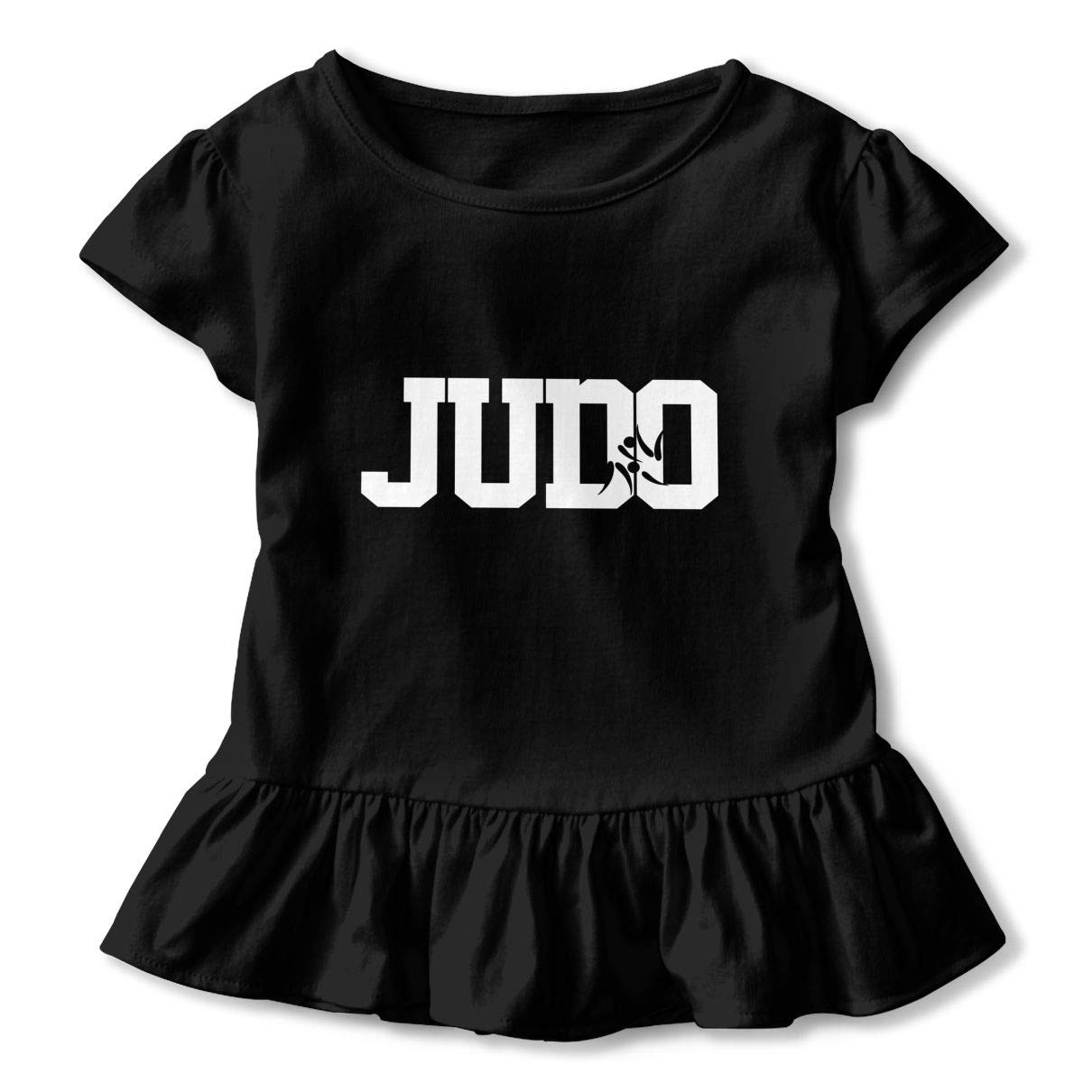 Cheng Jian Bo Judo Letter Print Toddler Girls T Shirt Kids Cotton Short Sleeve Ruffle Tee