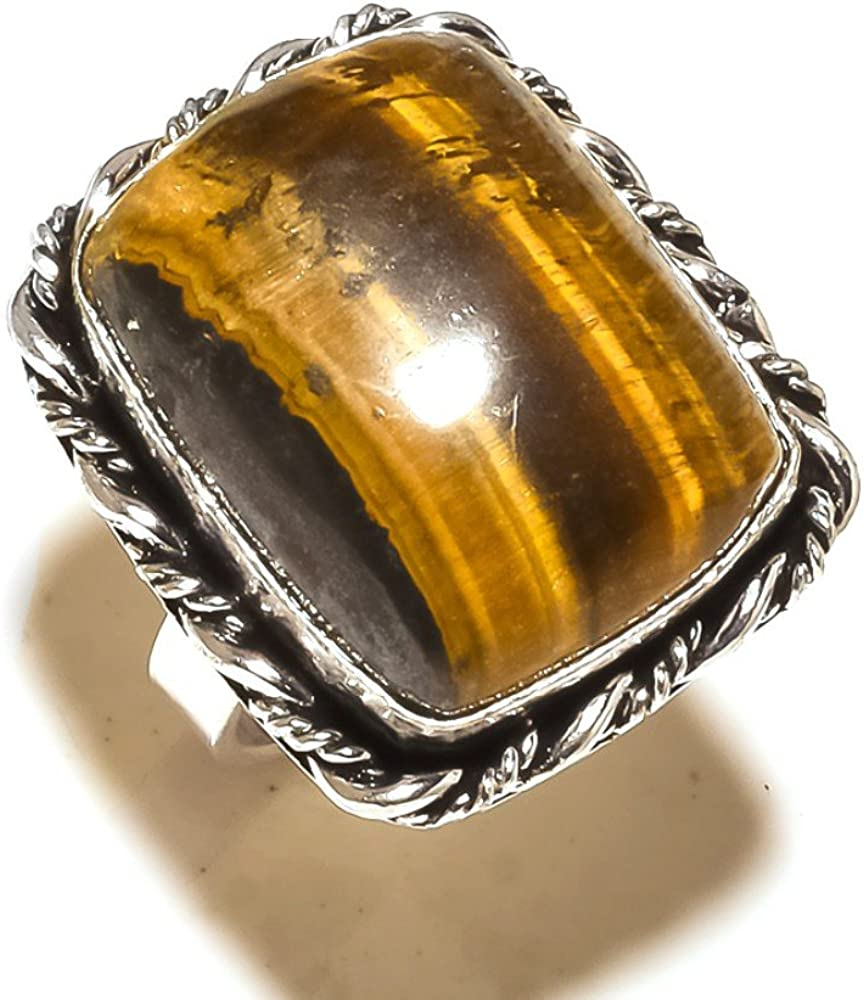 Sizable Gorgeous Brown Tiger Eye Handmade Jewellry 925 Sterling Silver Plated 10 Grams Ring Size 7.5 US