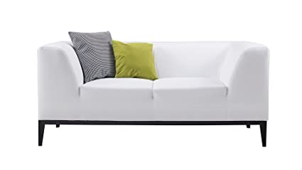 American Eagle Furniture AE-D820-W-LS Minimal Living Room Bonded Leather Upholstered Loveseat with Throw Pillow White