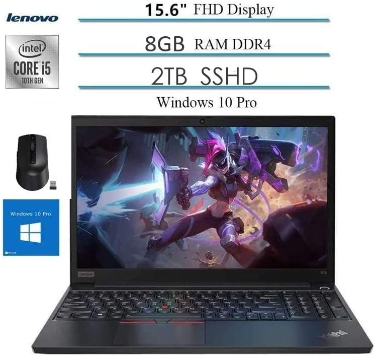 "Lenovo ThinkPad E15 15.6"" FHD LED IPS Anti-Glare Laptop, Intel Quad-Core i5-10210U, 16GB DDR4, 2TB SSHD, HDMI, 802.11ac, Bluetooth, Webcam, USB 3.1 Type C, Windows 10 Professional, Wireless Mouse"
