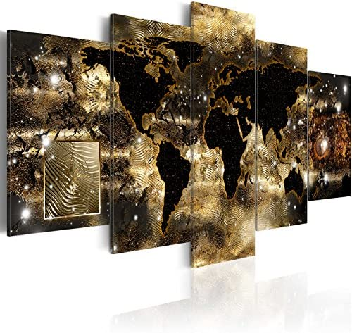 World Map Canvas Wall Art Large Gold Compass Picture Modern Painting Continents of Bronze Artwork Framed Home Decor