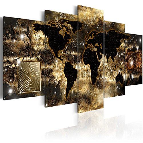 World Map Canvas Wall Art Large Gold Compass Picture Modern Painting Continents of Bronze Artwork Framed Home Decor for Bedroom 5 Panel Easy Hanging 60x30 inch (Map Canvas Gold)