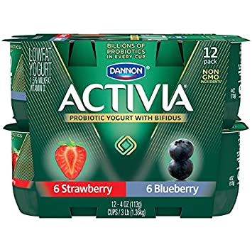 Dannon Activia Lowfat Yogurt, Strawberry & Blueberry Variety Pack, 4 Ounce (Pack of