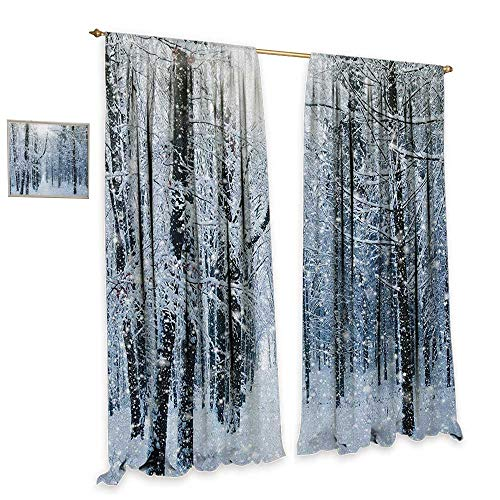 homefeel Winter Window Curtain Fabric Forest in Winter Snow Freezing Weather Frozen Barren Jungle Environment Photo Waterproof Window Curtain W72 x L84 Black Grey White ()