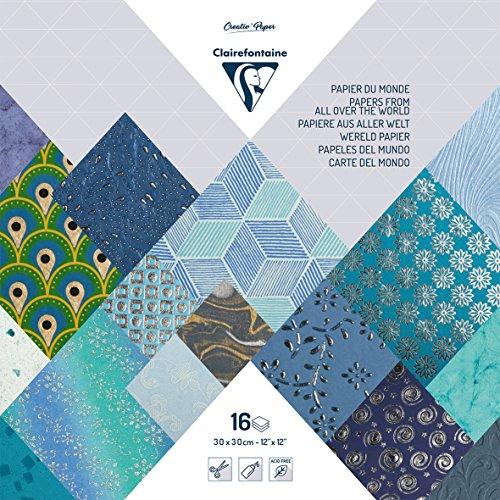 Clairefontaine 95226C Bloc Papiers du Monde 30x30cm, 16 feuilles Bleu