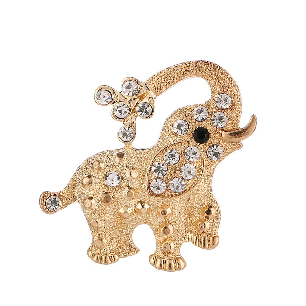 Myhouse Cute Elephant Rhinestone Scarf Buckle Brooch Pin Badge Clothes Tie Hats Caps Bags Accessories My_house