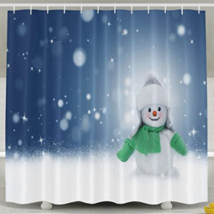 Snowman Snow Winter Christmas Four Seasons High Resolution Photography  Shower Curtains 60 X 72 Inches