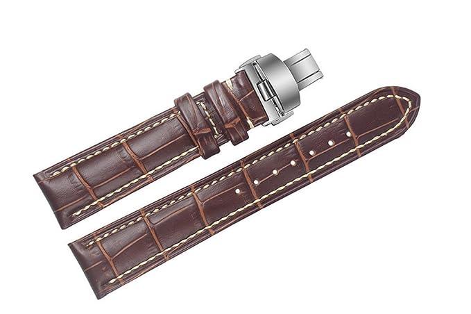 23 mm correas de relojes de lujo de cuero marrón de reemplazo / bandas hechas a mano con costuras de color blanco para los relojes suizos de lujo: ...