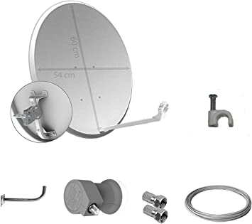 Tecatel - Kit parabólica 60 cm, Soporte, LNB Universal, Cable y Conectores (K60C1LSCC)