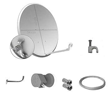 Tecatel K60C1LSCC - Kit parabólica, suporte, LNB Universal, cable y conectores, 60 cm, color blanco