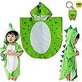 Drcool Asciugamano per Bambini Robe Kids con Cappuccio da Spiaggia a Forma di Poncho con Motivo di Dinosauro