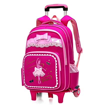 2bd1e7696d76 Geromg Kids Wheels Removable Trolley Backpack Children School Bags Boys  Girls Kids Travel Luggage Book Bag