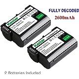 2 Replacement Nikon EN-EL15 ENEL15 Batteries Pack for Nikon D7000,D800, D800E, 1 V1 DSLR Cameras