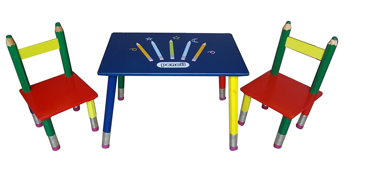 PENCIL Childrens Kids Wood Wooden Table/Desk and 2 Chairs Amazon.co.uk Office Products  sc 1 st  Amazon UK & PENCIL Childrens Kids Wood Wooden Table/Desk and 2 Chairs: Amazon.co ...
