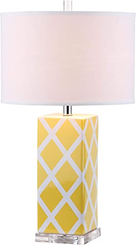 Safavieh Lighting Collection Garden Yellow Lattice 27-inch Table Lamp