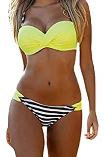 b410c718353 Podlily Womens Two Pieces Swimwear Halter Push up Bikini Sets with Board  Shorts Swimsuit