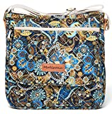 Malirona Canvas Messenger Bag Cross Body Purse Women Travel Purse Shoulder Satchel Floral Pattern (Black Flower)
