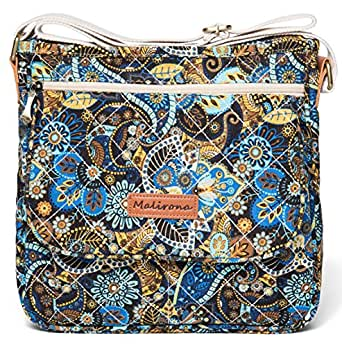 Malirona Canvas Messenger Bag Cross Body Purse Women Travel Purse Shoulder Satchel Floral Pattern, Black Flower (Black) - KJ016-FB144