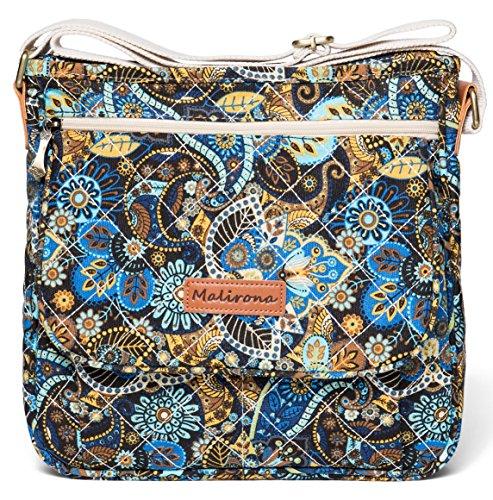 Malirona Canvas Messenger Bag Cross Body Purse Women Travel Purse Shoulder Satchel Floral Pattern (Black Flower)