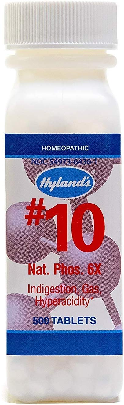 Natural Relief of Joint Pain, Gas, and Indigestion, Hyland's #10 Cell Salt Natrum Phosphoricum 6X Tablets, 500 Count